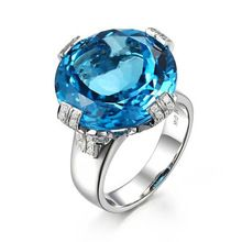 Qi Xuan_Natural Blue Topaz Luxury Rings_Finger Rings_S925 Sliver plated Real 18KPG Gold_Manufacturer Directly Sales