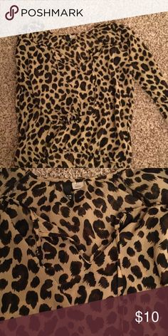 Cheetah print blouse Blouse with front tie Divided Tops Blouses