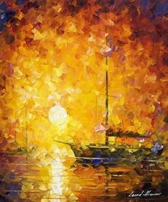 0832 Glows Of Passion - Palette Knife Oil Painting On Canvas By Leonid Afremov Print by Leonid Afremov Popular Paintings, Up To The Sky, Artwork For Home, Weird Pictures, Leonid Afremov Paintings, Palette Knife, Mellow Yellow, Modern Wall Art, Oil Painting On Canvas