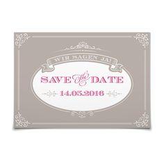 Save the Date Noblesse in Taupe - Postkarte flach #Hochzeit #Hochzeitskarten #SaveTheDate #elegant https://www.goldbek.de/hochzeit/hochzeitskarten/save-the-date/save-the-date-noblesse?color=taupe&design=3ca00&utm_campaign=autoproducts