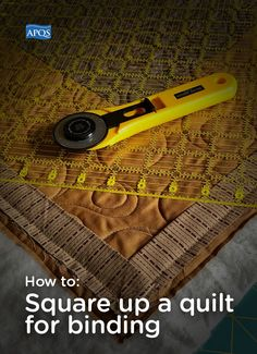 "When the quilting's done and the binding is all that remains, the finish line is in sight. What an awesome feeling! Before you head down the home stretch, take some time to ""square up"" the quilt and your quilt will look even more spectacular. Quilting Tips, Quilting Tutorials, Machine Quilting, Quilting Projects, Quilting Designs, Sewing Projects, Sewing Tips, Sewing Ideas, Batik Quilts"