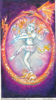 Rohit Arya_ Sacred India Tarot the World Cards Taoism, Buddhism, The World Tarot Card, Cosmic Egg, Dancing Figures, Shiva Lord Wallpapers, Nataraja, Occult Art, World Religions