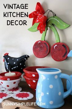 Vintage Kitchen Decor, polka dots, cherries and vintage items in our 1958 kitchen. #vintagekitchen #polkadots #cherries #homedecor