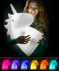 Giant Unicorn Lamp - Comes with a remote control for a rainbow of 16 different colors with four transition effects.