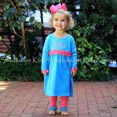 2/13/2013   Turquoise & Pink Ruffle Knit Dress Set
