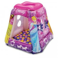 The Disney Princess Glitter N' Glam Playland from Moose Mountain is an inflatable playland that includes 20 soft flex balls.
