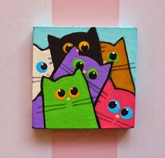 Cat crafts, diy arts and crafts, kids canvas, canvas art, beginner painti. Cute Canvas Paintings, Small Canvas Art, Mini Canvas Art, Kids Canvas, Cat Paintings, Simple Acrylic Paintings, Canvas Canvas, Acrylic Painting Tutorials, Painting Canvas