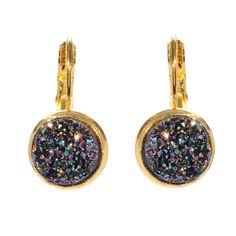 Fab.com | Druzy Leverback Earrings Blue