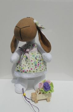 Handmade Linen EcoFriendly Toy Sheep Doll Sabrina by sweetshtuchky