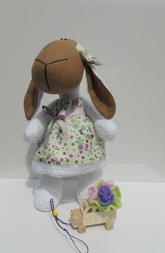 Handmade Linen EcoFriendly Toy Sheep Doll Sabrina by sweetshtuchky