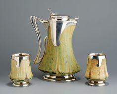 Alexandre Bigot (1862–1927) - Three-Piece Wine Set. Glazed Stoneware with Silver Mounts. Paris, France. Circa 1900.