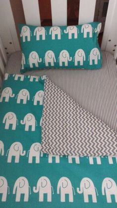 Bubbles Lane elephant cot quilt, fitted sheets and pillowcases www.facebook.com/bubbleslane