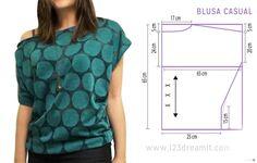 Blouse  Les compartimos las instrucciones para hacer esta blusa. Es unitalla, fácil de hacer, se ve súper linda y lo mejor de todo es muy cómoda! Debes cortar 2 piezas iguales para sacar frente y espalda. Da click en descargar archivo PDF para ver el molde y las instrucciones de costura. No olvides ver el video con el paso a paso.