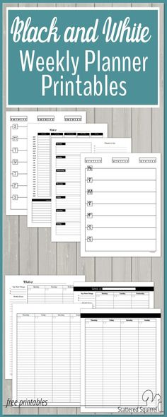 These black and white weekly planner printables are a great canvas for adding washi and stickers too. Coloured ink pops on them, and they're printer ink friendly.