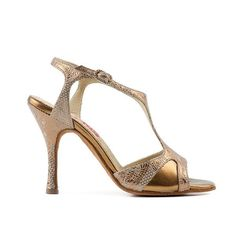 Shimmering beige stamped leather with bronze leather accents. It will draw the light and eyes to it on any dance floor! This is an open-toe sandal but due to the clever design of the vamp and the t-ba