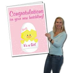"2'x3' Giant New Baby Girl Card, W/Envelope by VictoryStore. $16.95. Big, Funny Get Well Card. Made from 4mm corrugated plastic, comes with it's own 'envelope', made from heavy duty cardboard. Ships in the 'envelope', complete with a big, funny stamp. This card is sure to be a favorite and will definitely stand out from the crowd! The inside text reads:...""So happy you two decided to add to your flock!  Wishing you the best!"" See our other card options here: http://www.amazon...."