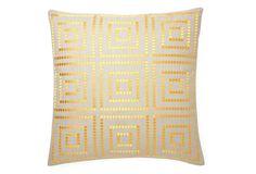Design Accents Bindi 20x20 Embroidered Pillow, Yellow on OneKingsLane.com