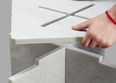 Using classic, hand-honed marble, Joe Doucet designed these gorgeous modern tables made of 3 pieces that snap fit together using only gravity to stay put. Marble Furniture, Design Furniture, Home Furniture, Design Desk, Design Table, Honed Marble, Carara Marble, Marble Slabs, Joinery Details