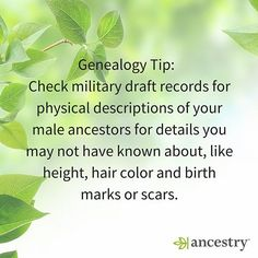 When there just isn't a photograph, physical descriptions can tell you whether those green eyes came from great-grandpa.  #military #draftrecords #USHistory #MilitaryHistory #AmericanHistory #unitedstates #ancestors #ancestry #genealogy #familyhistory #fa