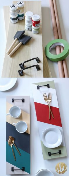 Create this DIY SERVING TRAY to match your style and home decor, with precut wood from the home improvement store, this comes together in no time!