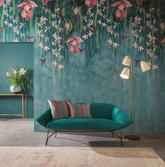 Blumentapete Trailing Orchid von Osborne & Little - Room & Living - Orchideen Orchid Wallpaper, Wallpaper Decor, Wallpaper Ideas, Wallpaper Direct, Wallpaper Designs, Wallpaper For Walls, Wallpaper Wallpapers, Vintage Wallpapers, Teal And Grey Wallpaper
