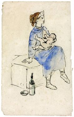 Pablo Picasso drawings | Pablo Picasso 'Circus Artist and Child', 1905© Succession Picasso ...