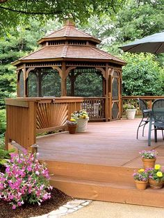Ways to Upgrade Your Deck Deck with Gazebo - what a great way to expand a deck or add a hot tub. :DDeck with Gazebo - what a great way to expand a deck or add a hot tub. Gazebo Pergola, Screened Gazebo, Gazebo Ideas, Wooden Gazebo, Cheap Pergola, Pergola Kits, Hot Tub Gazebo, Wisteria Pergola, Black Pergola