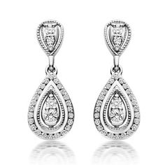 Beaverbrooks 9ct White Gold Diamond Drop Earrings £1100