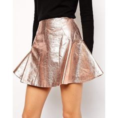 Antipodium Retriever Skirt in Metallic Coated Fabric (170 PLN) ❤ liked on Polyvore featuring skirts, metallic a line skirt, zipper skirt, metallic skirt, knee length a line skirt and faux leather skirt