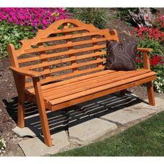 Outdoor A & L Furniture Western Red Cedar Marlboro Garden Bench - 473C-WALNUT STAIN