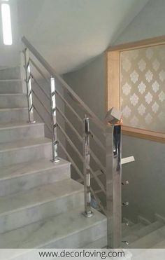 If its filling is perforated consisting of balusters fixed at an equal distance Modern Staircase balusters consisting distance equal Filling Fixed Perforated Steel Bed Design, Steel Stairs Design, Steel Grill Design, Home Stairs Design, Interior Stairs, Wooden Staircase Railing, Modern Stair Railing, Modern Stairs, Stainless Steel Stair Railing