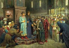 The boyars begging Mikhail Romanov & his mother to accept the boy on the Russian throne in 1613.