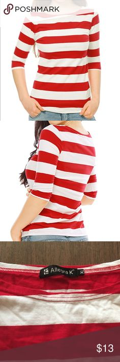 """Red & White Striped Boat Neck Elbow Sleeve Shirt Red and white striped elbow length sleeve Boat Neck slim fit tee. Sleeves measure 14"""" long. Shirt is 24"""" long. 39"""" chest, 42"""" waist. Worn once and in excellent, like new condition. 65% polyester, 30% cotton, 5% spandex. Tops"""