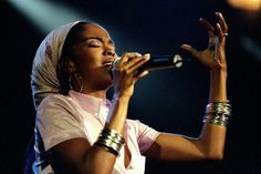 "Lauryn Hill performing 'The Miseducation of Lauryn Hill"" in concert at Madison Square Garden on March 23, 1999."