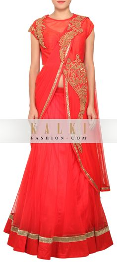 Buy Online from the link below. We ship worldwide (Free Shipping over US$100) http://www.kalkifashion.com/scarlet-red-lehenga-featured-in-net-with-satin-lining-only-on-kalki.html