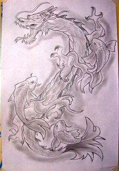 dragon koi tattoo by phantom ops traditional art drawings fantasy 2012 . Dragon Tattoo Drawing, Koi Dragon Tattoo, Small Dragon Tattoos, Tattoo Drawings, Art Drawings, Jing Y Jang, Pez Koi Tattoo, Arte Yin Yang, Samurai Tattoo