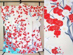 Silk kimono with red plum blossoms Vintage houmongi by SalzTokyo