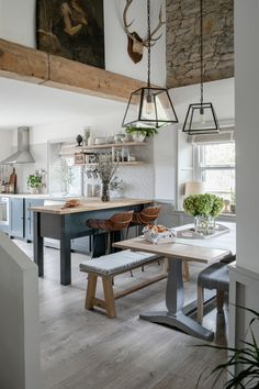 Reclaimed beams a Neptune kitchen with herringbone tiles and antique art Simple Kitchen Cabinets, Simple Kitchen Design, Beautiful Kitchen Designs, Beautiful Kitchens, Beautiful Homes, Kitchen Ideas, Neptune Kitchen, Neptune Home, Open Plan Kitchen Living Room