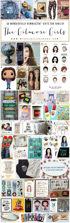 Looking for the perfect gift for that friend of yours who just spent the entire weekend binge-watching Gilmore Girls? Here are gifts for Gilmore Girls fans!  50 Gifts for Gilmore Girls Fans - Christmas Gift Ideas http://mysocalledchaos.com/2016/11/50-gifts-for-gilmore-girls-fans.html