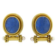 Elizabeth Locke Intaglio Venetian Glass Pearl Gold Earrings | From a unique collection of vintage more earrings at https://www.1stdibs.com/jewelry/earrings/more-earrings/