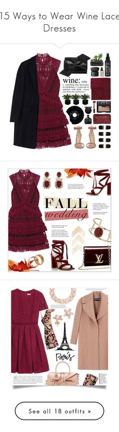 """""""15 Ways to Wear Wine Lace Dresses"""" by polyvore-editorial ❤ liked on Polyvore featuring lacedresses, waystowear, Forever 21, self-portrait, Victoria Beckham, MSGM, Gianvito Rossi, CHESTERFIELD, Giorgio Armani and L'AURA"""