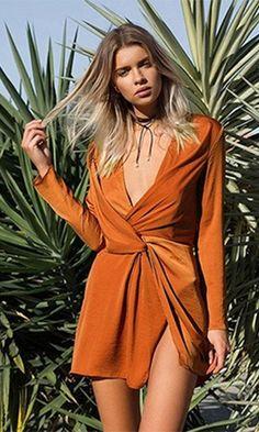 Tie The Knot Burnt Orange Satin Long Sleeve V Neck Twist Knot Mini Dress