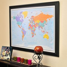 Frame and mat a map of the world on cork boardeat way to blue oceans world travel map with pins gumiabroncs Gallery