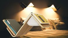 A bookshelf, a reading light or a bookmark? Lilite: the ultimate bedside lamp for readers, is the solution for all the above! When you pull your book from the wooden peak a sensor automatically turns the lamp on. So Clever, SHOP it now! #booklamp #readinglight #readinglamp #bookshelf #bedlamp #bedroomdesign #bedroom #beds #interiordesign #designlamp