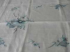 """Vintage embroidered with blue flowers and cut work linen tablecloth  84"""" x 64"""""""