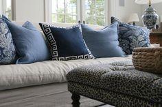 Ralph Lauren linen, Schumacher epingle on ottoman, WS Home greek key silk pillow