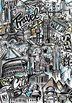 travel doodle art - Google Search