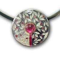 Carolyn Delzoppo - Sterling and fine silver, cloisonné enamel, pink tourmaline  Love ALL of this artist's work.