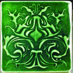 Art nouveau tile, 6 x 6, green accent tile, handmade tile, art tile, backsplash tile, fireplace tile, wall tiles, 6 x 6 wall tile by CampbellTileworks on Etsy