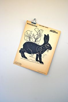 vintage paper shooting target  jack rabbit  by LegalMissSunshine, $12.00